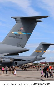 TAMPA, FLORIDA - MARCH 20, 2016: A U.S. Air Force Boeing C-17A Globemaster III (Spirit of the Air Force) on display alongside a Lockheed C5-M Super Galaxy at MacDill Air Force Base in Tampa, Florida.