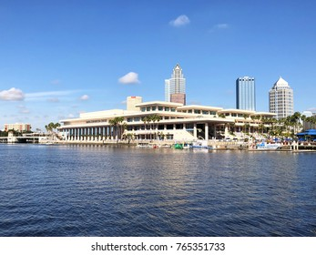 Tampa, Florida - November 22, 2017:  The Tampa Convention Center, at the mouth of the Hillsborough River. It has both waterfront views of Tampa bay and city skyline.