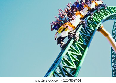 Tampa, Florida; October 06, 2018 Funny people, descending to 60 miles per hour in terrific Cheetah Hunt Rollercoaster at Bush Gardens Theme Park.