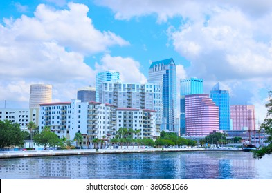 Tampa, Florida skyline as viewed on the waterfront from Davis Island showing the colorful buildings of downtown