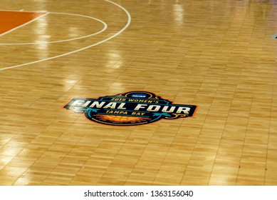 Tampa, Florida / USA - April 6, 2019: 2019 NCAA Women's Final Four Tampa Bay Decal on a Basketball Court inside the Tampa Convention Center
