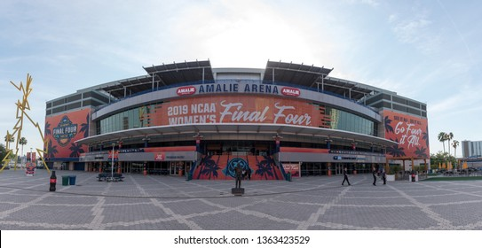 Tampa, Florida / USA - April 6, 2019: Panoramic View of Amalie Arena Decorated with the 2019 NCAA Women's Final Four Tampa Bay Sign