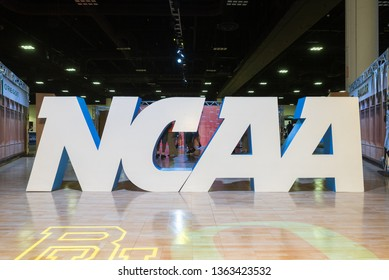 Tampa, Florida / USA - April 6, 2019: NCAA Sign at the Tampa Convention Center During the 2019 NCAA Women's Final Four Tampa Bay