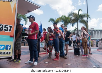 Tampa, Florida / USA - August 4, 2018: Crowd people standing in line at a food truck outside the Tampa Convention Center during Comic Con