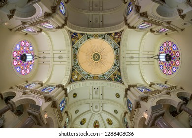TAMPA, FLORIDA, USA - DECEMBER 9, 2018: Interior of the historic Sacred Heart Catholic Church on N Florida Avenue in Tampa