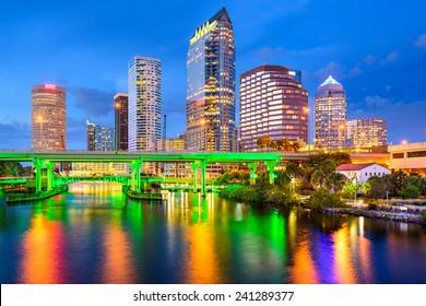 Tampa, Florida, USA downtown city skyline on the Hillsborough River.