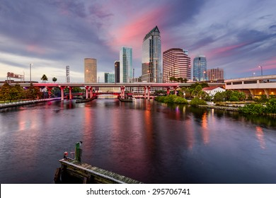 Tampa, Florida, USA downtown city skyline over the Hillsborough River.