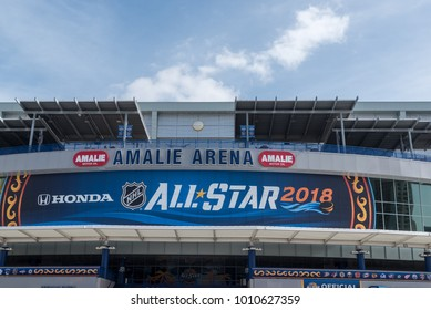 Tampa, Florida / USA - January 26, 2018: Close up of the NHL 2018 All Star Sign on Amalie Arena in Tampa, FL