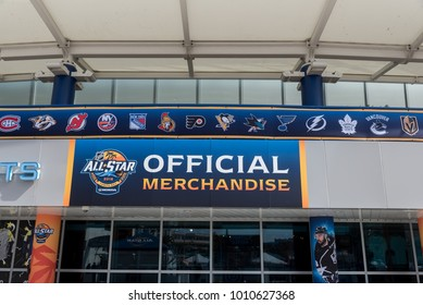 Tampa, Florida / USA - January 26, 2018: NHL 2018 All Start Official Merchandise Sign Outside of Amalie Arena in Tampa, FL