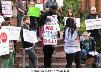 Tampa, Florida / USA - January 6, 2018: Group of People Holding Signs Protesting the Tampa City Council's Bathhouse Ordinance Outside City Hall