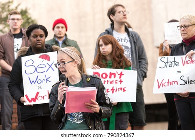 Tampa, Florida / USA - January 6, 2018: Julie Solace, Leader of the Sex Worker Solidarity Network Speaking at the Tampa City Council's Bathhouse Ordinance Protest Outside City Hall