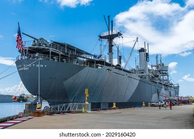 TAMPA, FLORIDA, USA - JULY 22, 2021: The American Victory Ship and Museum