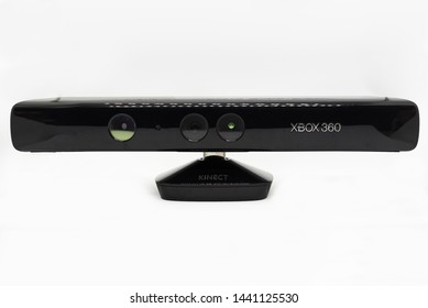Tampa, Florida / USA - June 26, 2019: Kinect for Xbox 360 Isolated on White. The Kinect is a Discontinued (2016) Motion Sensor Accessory for the Xbox Gaming System