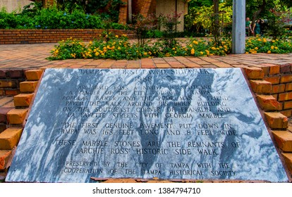 Tampa, Florida USA- March 16, 2019 Archie Ross's First Paved Sidewalk Marble Stone Monument