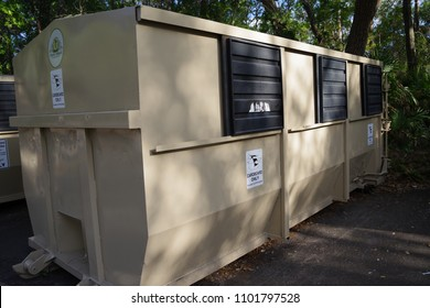 Tampa, Florida / USA - May 4 2018: City of Temple Terrace Recycle Dumpster
