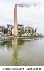 Tampa, FL/US - December 23, 2017: The Bend Power Plant is a major coal-fired power plant operated by Tampa Electric. Warm water outfalls from the plant attract West Indian manatees during the winter.