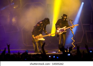 TAMPA - JULY 3: Mick Mars performs during Crue Fest at the Ford Amphitheatre on July 3, 2008 in Tampa, Florida.