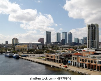 TAMPA - MARCH 18: Skyline of Tampa, FL shown from the water in the Port of Tampa on March 18, 2010 in Tampa. Tampa has hosted the Super Bowl four times, including the 2009 contest.