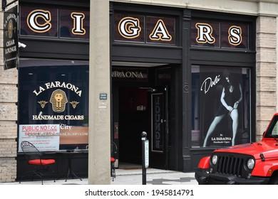 Tampa. March 20 2021: La Faraona cigar store in Ybor City.