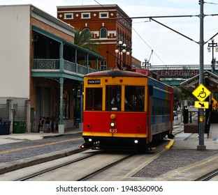 Tampa. March 20 2021: A tampa streetcar in Ybor City.