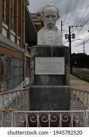 Tampa. March 21 2021: Bust of Jose Marti outside the Cuban Club in Ybor City.