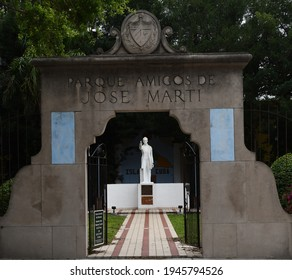 Tampa. March 21 2021: The entrance to the Friends of Jose Marti Park.