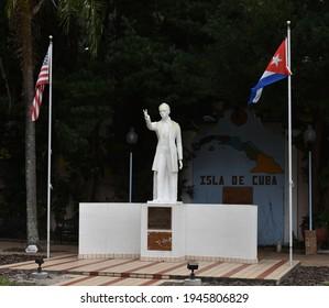 Tampa. March 21 2021: Statue of Jose Marti in Ybor City.