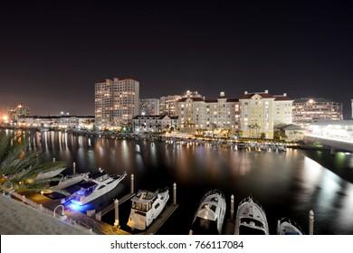 Tampa night view riverwalk city skyline