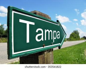 Tampa signpost along a rural road