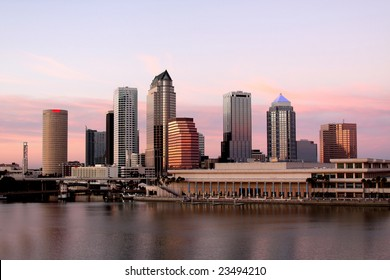 Tampa Skyline - Panorama view on modern skyscrapers in business downtown