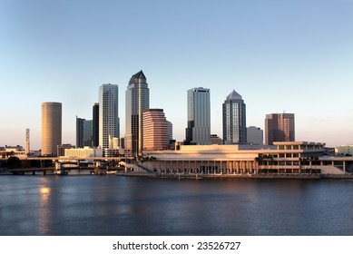 Tampa Skyline - Panoramatic view on modern skyscrapers in business downtown