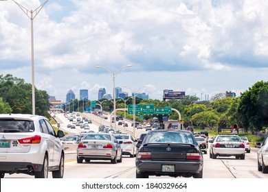 Tampa, USA - April 27, 2018: Road street interstate highway green arrow sign for i75 south to Tampa Florida with text