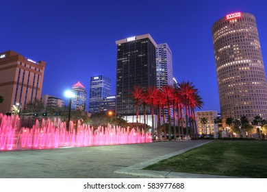 TAMPA, USA, FEB 3: downtown city skyline of Tampa in the Riverwalk on Feb 3, 2017 in Tampa, USA.