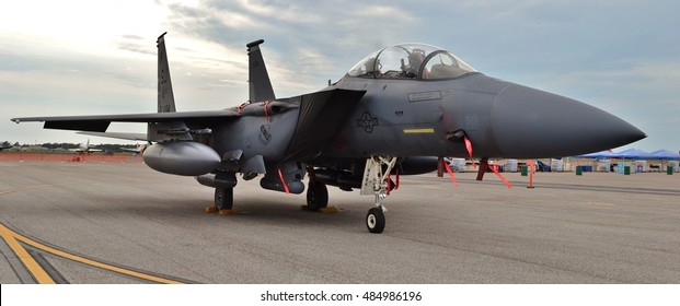 Tampa, USA - March 18, 2016: An Air Force F-15E Strike Eagle fighter jet on a runway at MacDill Air Force Base. This F-15E belongs to the 4th Fighter Wing from Seymour Johnson Air Force Base.