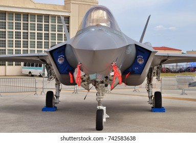 Tampa, USA - March 18, 2016: A U.S. Air Force F-35 Joint Strike Fighter (Lightning II) jet  at MacDill Air Force Base. This F-35 is assigned to the 33rd Fighter Wing from Eglin Air Force Base.