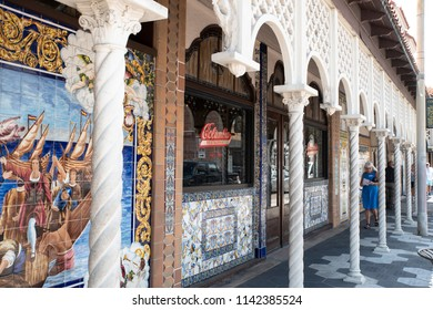 Tampa,FL/USA- 07/15/2018: A look at the beautiful exterior of Ybor City's Columbia restaurant.