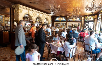 Tampa,FL/USA- 07/15/2018: A look inside the interior of Columbia restaurant in Tampa's Ybor City.