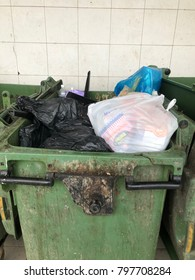 TAMPARULI, SABAH,MALAYSIA-JAN 20,2018: Editorial Use Only. Rubbish overflow outside trash containers and poor waste management.