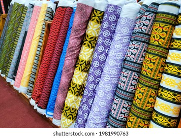 Tamparuli, Tuaran Sabah Malaysia - May 20, 2021 : Chanteek Borneo Textile, produce Sabah's ethnic digital textile design for fashion fabric with the Kadazan, Dusun, Murut, Rungus or Bajau motifs.