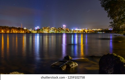 Tampere city view by lake at night, Finland