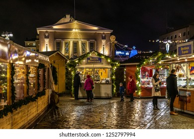 Tampere, Finland - 12 04 2018: Every year christmas market