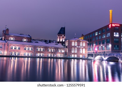 Tampere, Finland - 12.05.2018: Tampere city at night Illuminated .Finland
