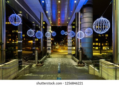 Tampere, Finland 12.12.2018: Tampere Hall (Tampere-Talo) entrance decorations. Tampere Hall is a culture and conference centre full of wonderful experiences.