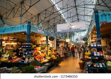 Tampere, Finland - 3 September 2018: Interior of the Tampere Market Hall, the biggest market hall in the Nordics