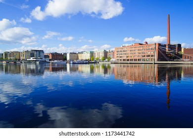 Tampere / Finland - 4 September 2018:  The Tammerkoski Rapids, a tourist attraction in the centre of Tampere and one of the national landscapes in Finland.