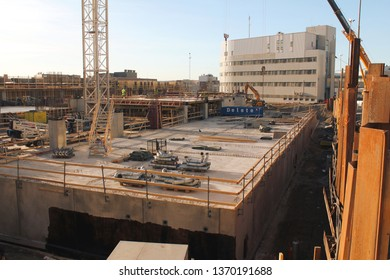 Tampere, Finland - April 3 2019: Tampere Deck and Arena project construction site. Tampere police station in the background.