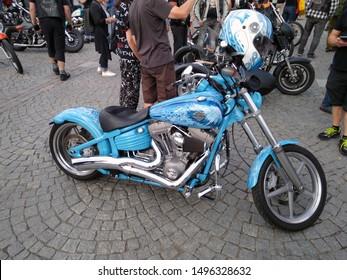 Tampere, Finland - August 31, 2019: Blue customized Harley Davidson chopper at the bike show Mansen Mäntä Messut (Tampere piston fair in English)