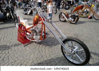 Tampere, Finland - August 31, 2019: Customized Harley Davidson 1947, Flathead  1200 cc, at the bike show Mansen Mäntä Messut (Tampere piston fair in English)
