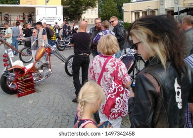 Tampere, Finland - August 31, 2019: Motorcycle show Mansen Mäntä Messut (Tampere piston fair in English). People watching a customized bikes and enjoying music and good company.