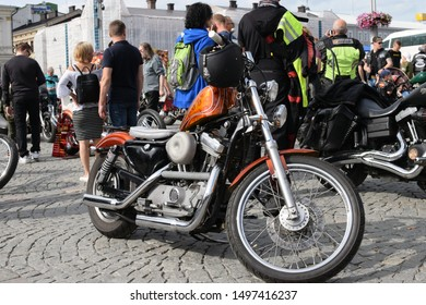 Tampere, Finland - August 31, 2019: Parked customized motorcycle with S&S Cycle engine at the bike show Mansen Mäntä Messut (Tampere piston fair in English).